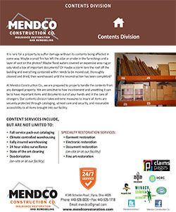 Mendco Construction - Emergency Contents Division