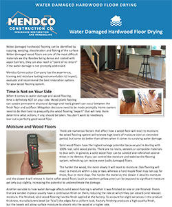 Mendco Construction - Water Damaged Hardwood Floor Drying