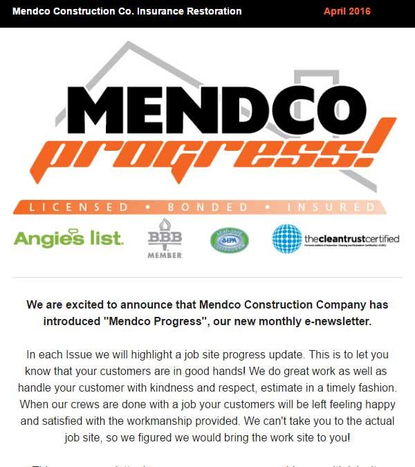 Mendco Construction Co. Progress Newsletter Issue 1