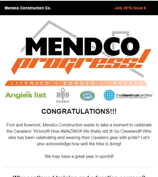Mendco Construction Co. Progress Newsletter Issue 6