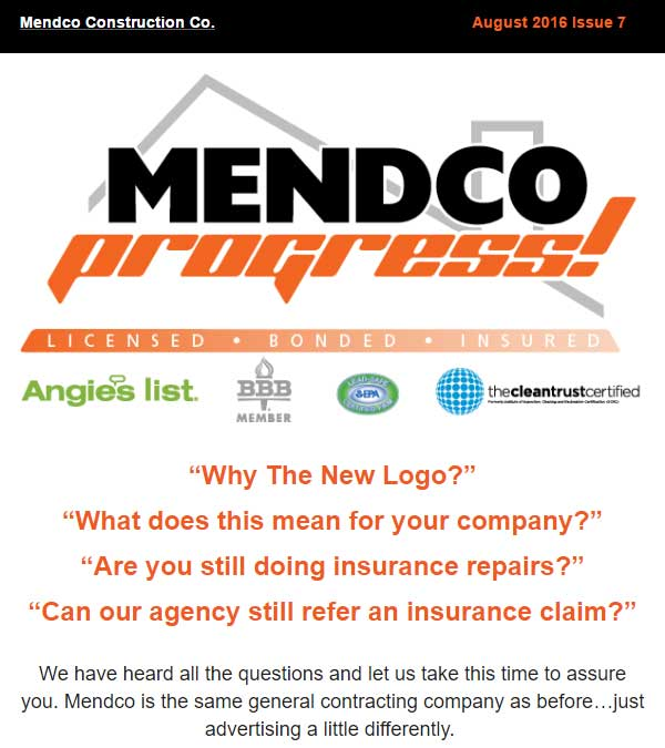 Mendco Construction Co. Progress Newsletter Issue 7